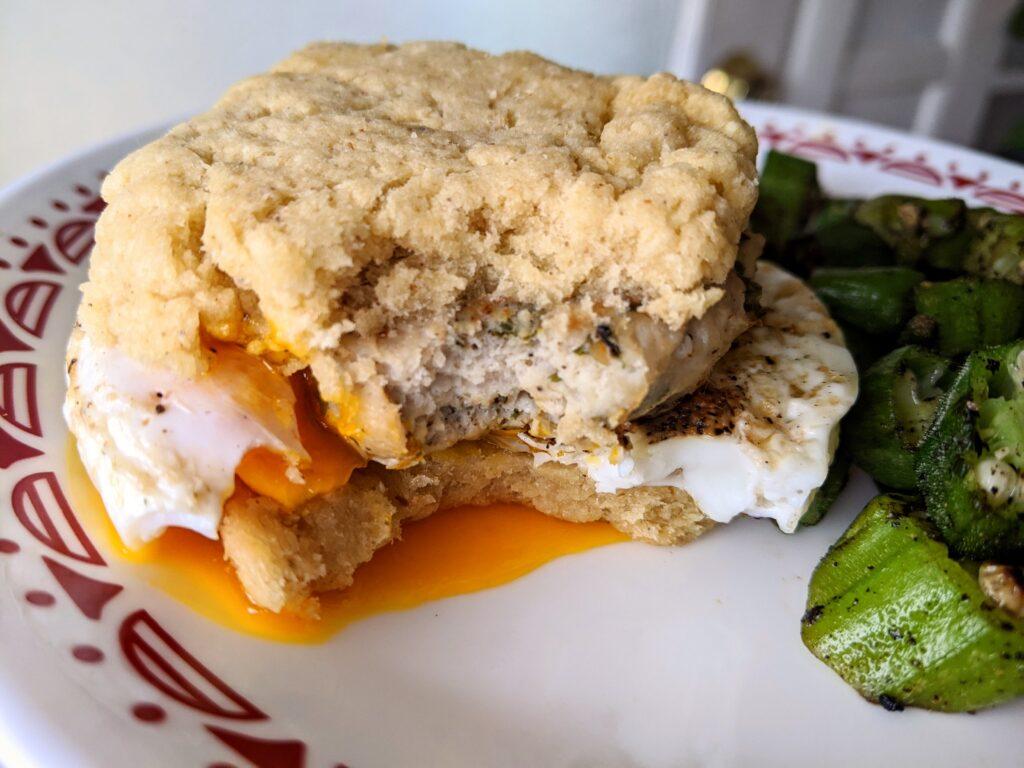 Keto Biscuit, Turkey Sausage and Egg breakfast sandwich.