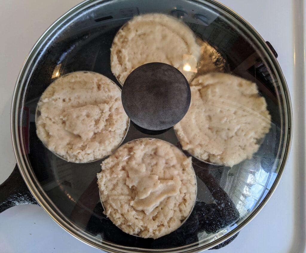 Collagen English Muffin batter in skillet
