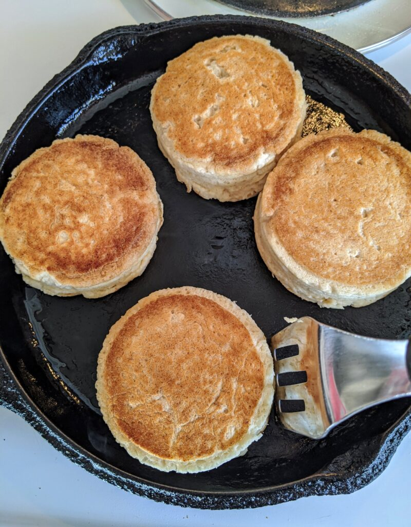 Even up the sides of the Collagen English Muffins with a spatula