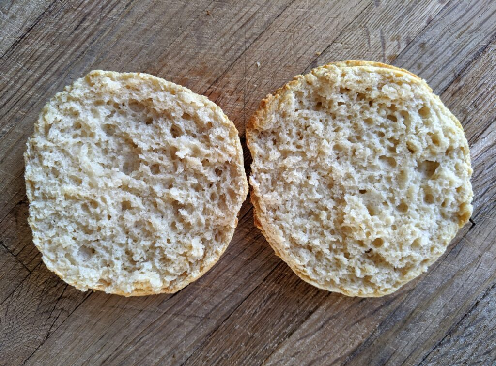 Collagen English Muffin opened and ready to eat!