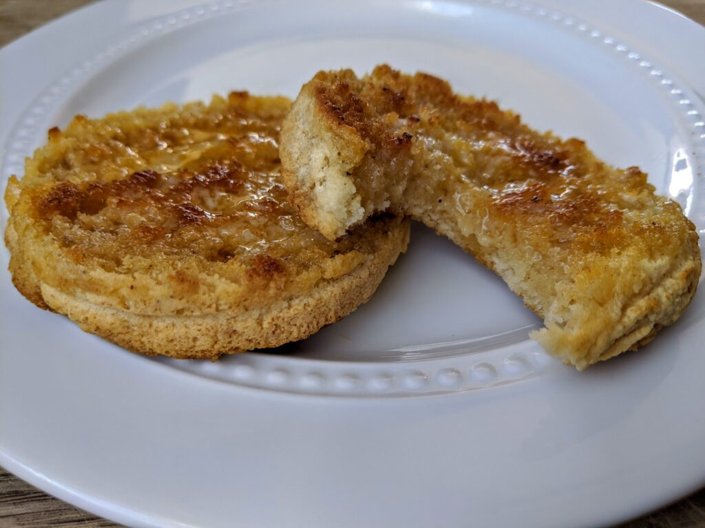 Collagen English Muffins with butter and sugar-free maple syrup