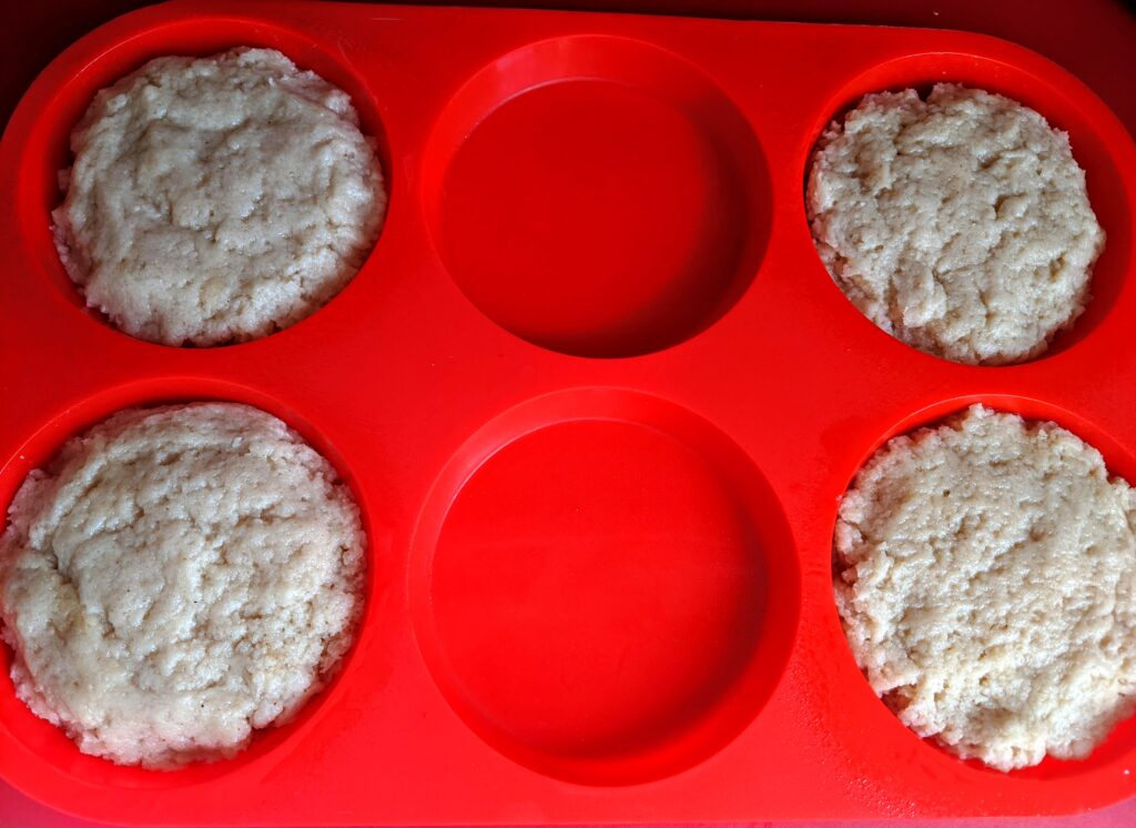 Collagen English Muffin batter in muffin top pan
