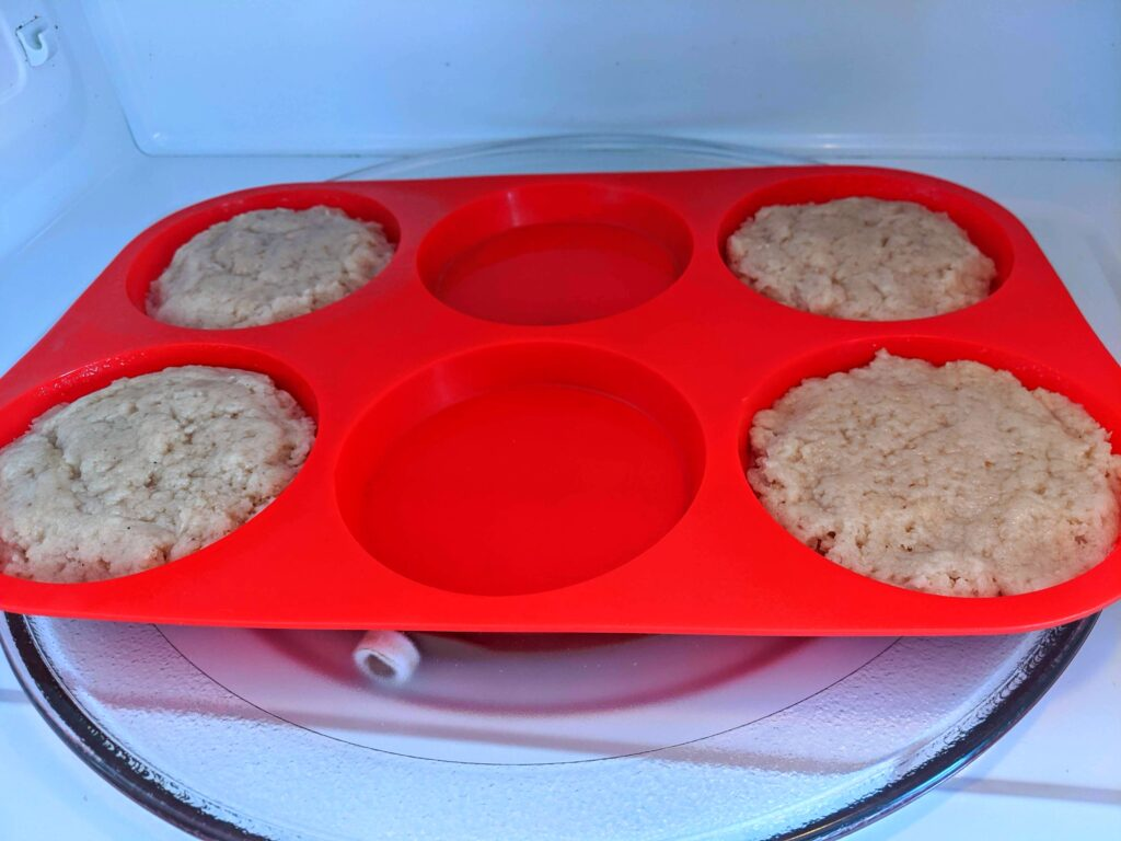 Collagen English Muffin buns in the microwave