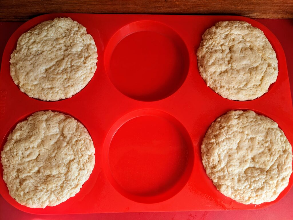 Collagen English Muffins buns finished cooking in microwave