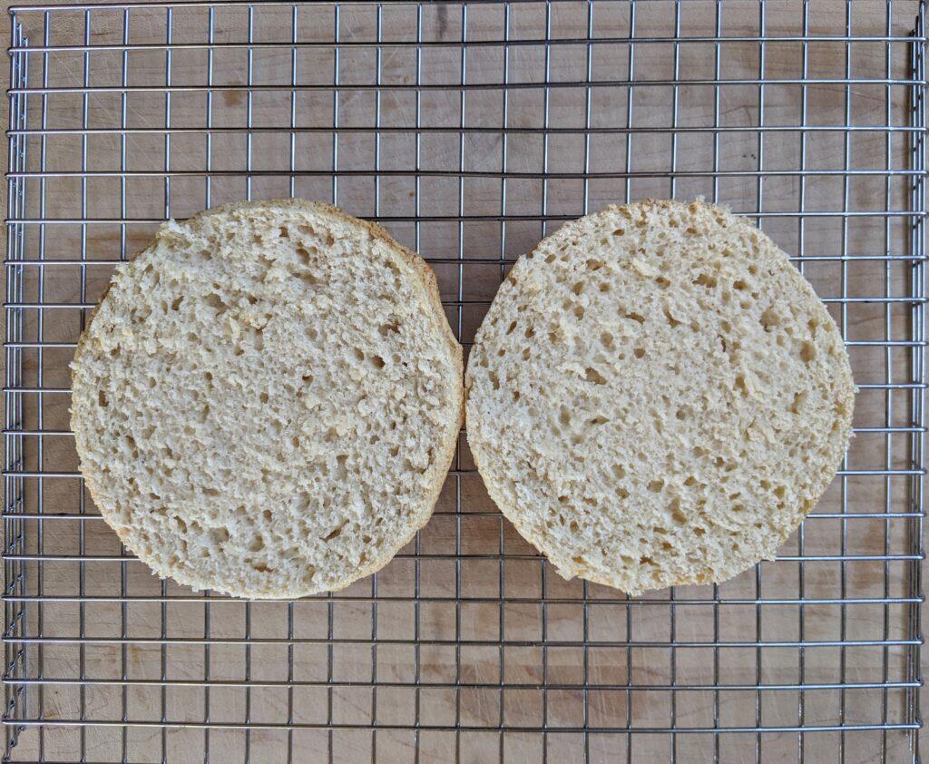 Collagen English Muffin bun sliced in half