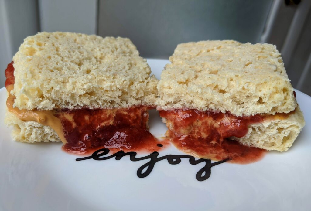 Fuel-Pull peanut butter and jelly sandwich on Collagen English Muffin sandwich bread