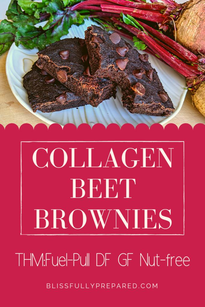 Pinterest pin for collagen beet brownies