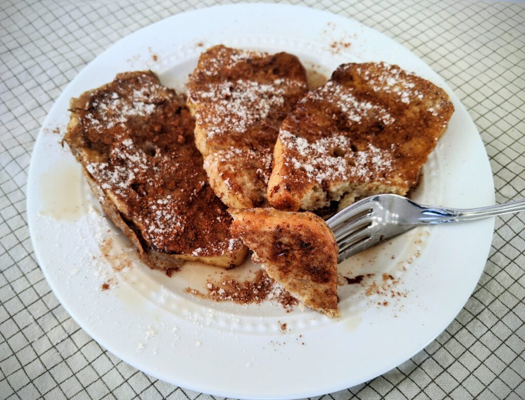 Deep-S French toast made with Keto Dinner Rolls in bread loaf form