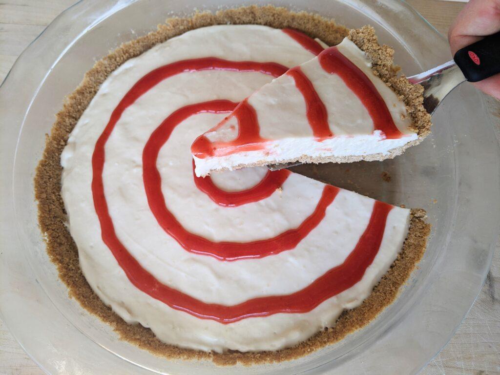 Keto Graham Crackers in graham cracker crust cheesecake