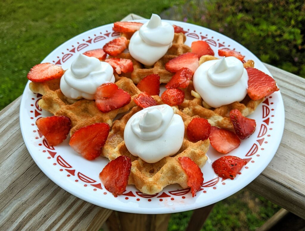 Fat-Free Whipped Topping on waffles